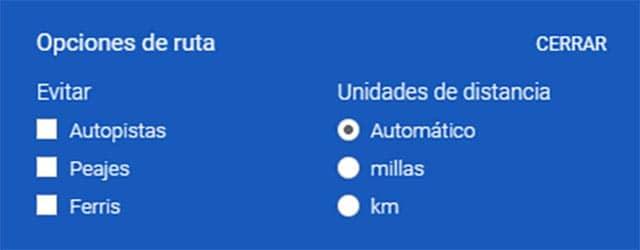Opciones de google maps